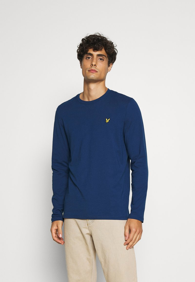 Lyle & Scott - CREW NECK PLAIN - Long sleeved top - indigo