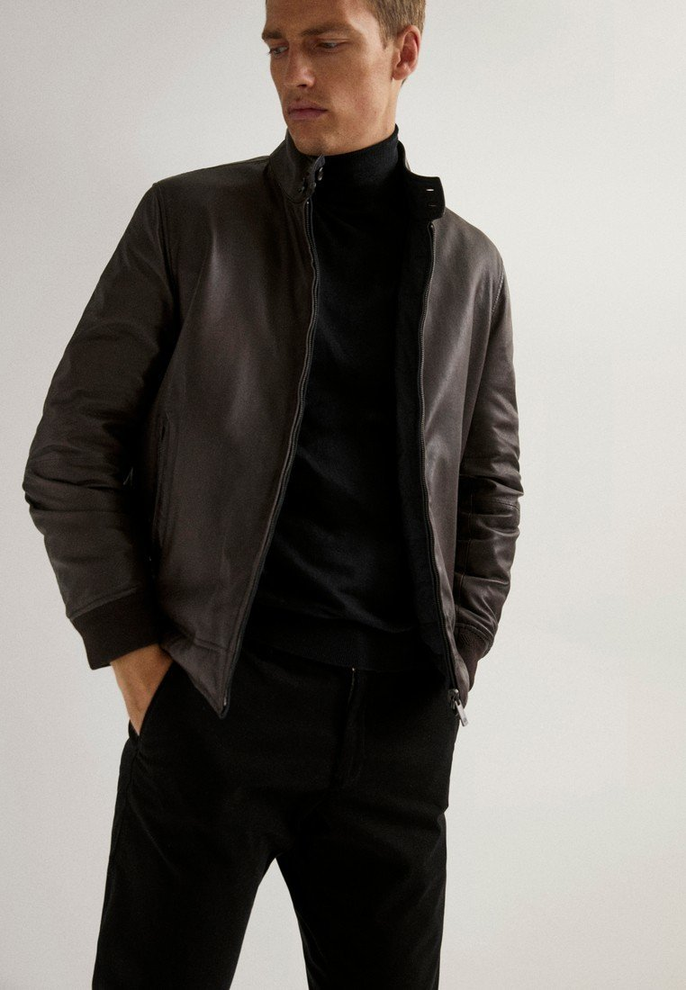 Massimo Dutti - Faux leather jacket - brown