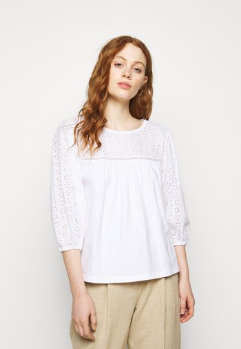 EYELET YOKE BLOUSE SLEEVE TOP - Long sleeved top - white