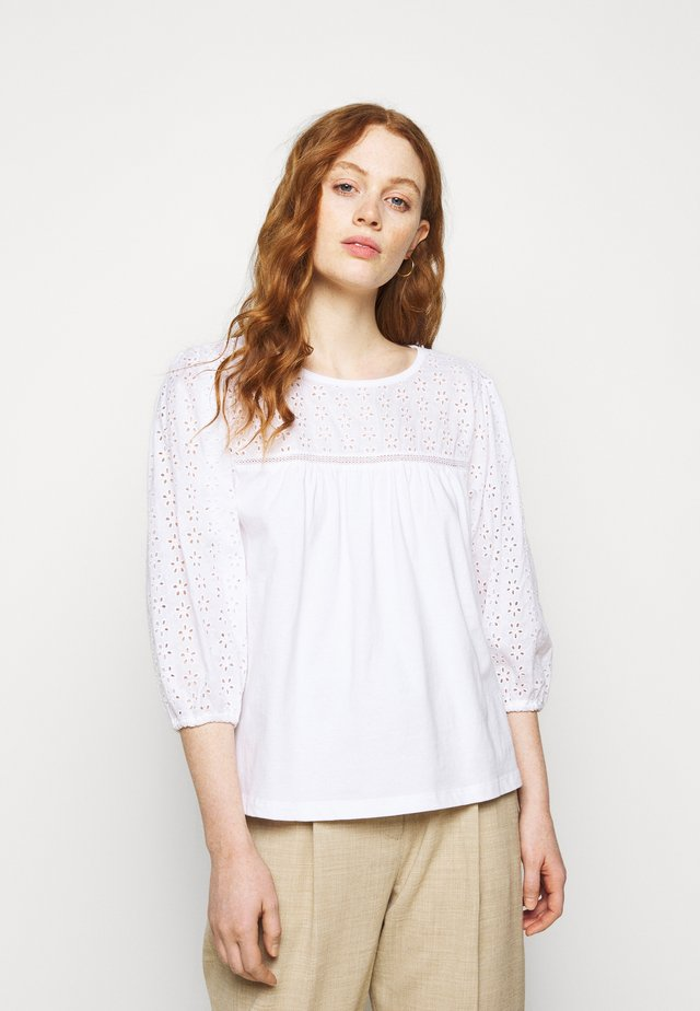 EYELET YOKE BLOUSE SLEEVE TOP - Langærmede T-shirts - white