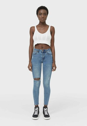 Jeansy Skinny Fit - mottled blue
