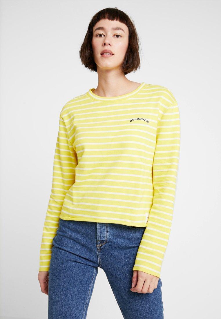 Marc O'Polo DENIM - CREW NECK STRIPED - Sweatshirt - yellow/white