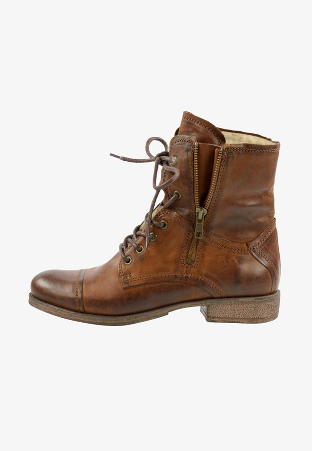 MIT KUNSTFELL - Lace-up ankle boots - cognac