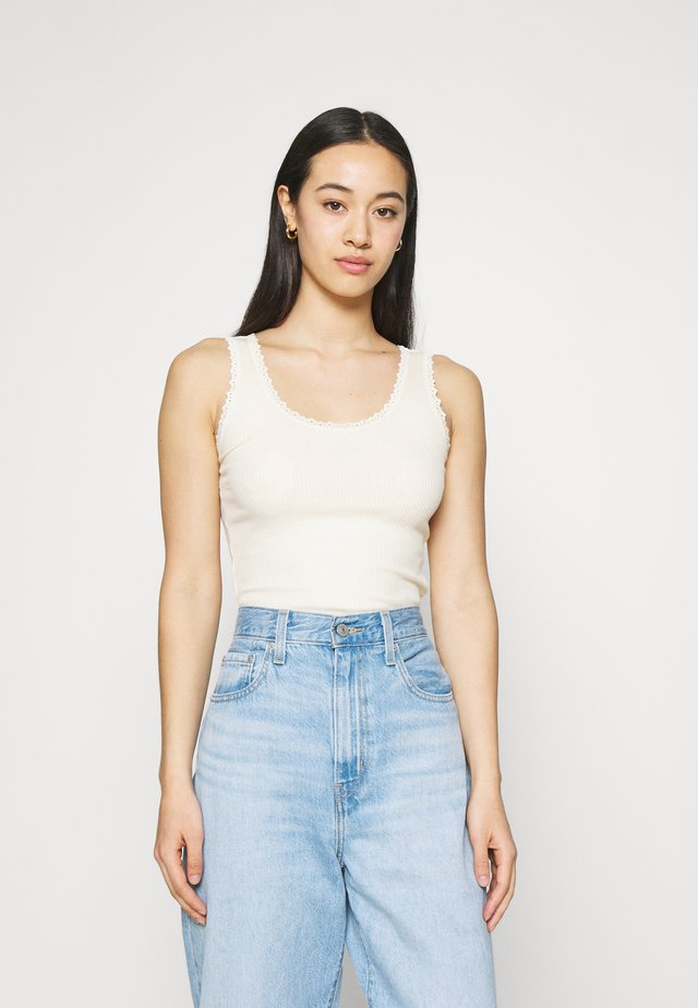 PICOT TRIMMED TANK - Top - beige