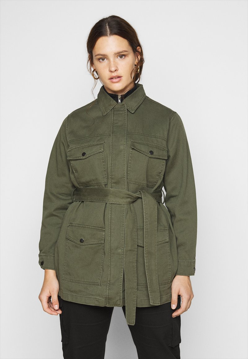 New Look Curves - LOTUS BELTED SHACKET - Summer jacket - khaki