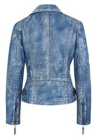 7eleven - MIT ASYMMETRISCHEM REISSVERSCHLUSS - Leather jacket - bluewhite - 5