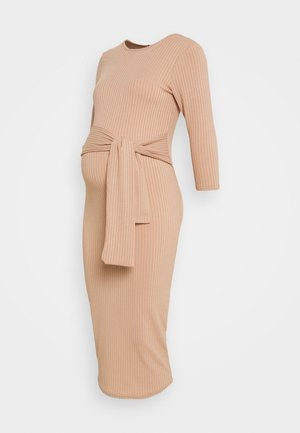 TIE FRONT MIDI - Jersey dress - camel