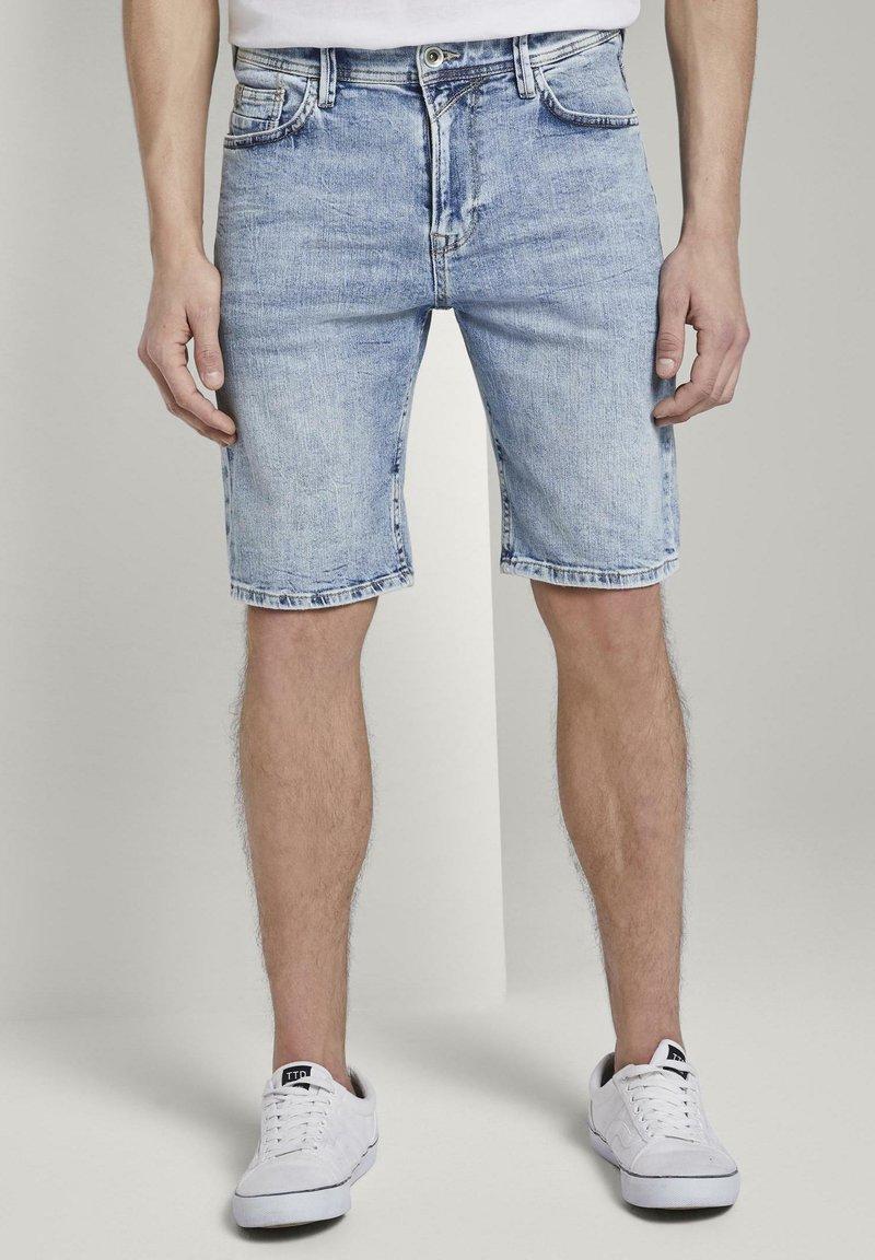 TOM TAILOR DENIM - Denim shorts - used bleached blue denim