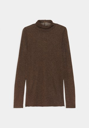 SHEER TOP - Long sleeved top - black/bronze