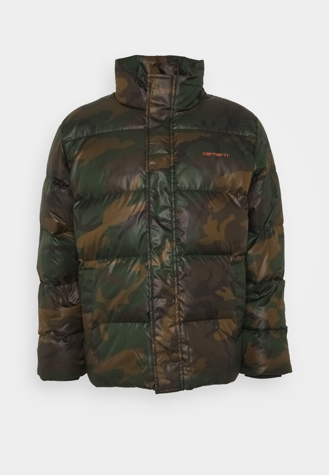 DEMING JACKET - Down jacket - camo evergreen / brick orange