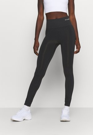 SEAMLESS HIGH WAIST  - Legginsy - black