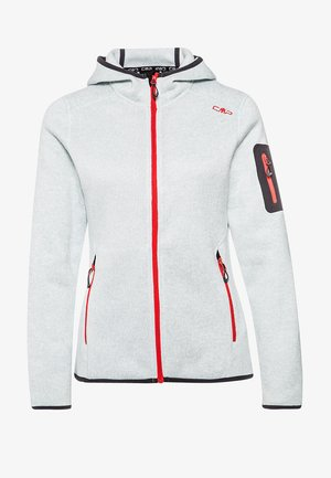 WOMAN FIX HOOD JACKET - Fleece jacket - metal/bianco
