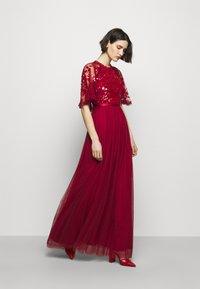 Needle & Thread - SEQUIN RIBBON BODICE MAXI DRESS - Společenské šaty - deep red - 1