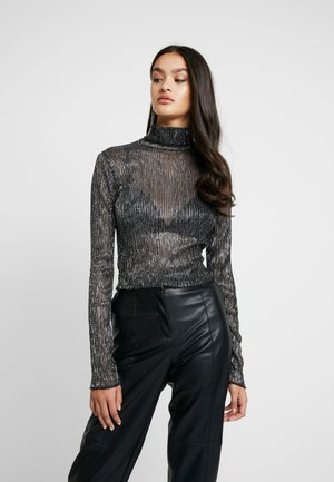 LIGHT MAGIC SPARKLE TURTLE NECK LETTUCE HEM - Long sleeved top - black