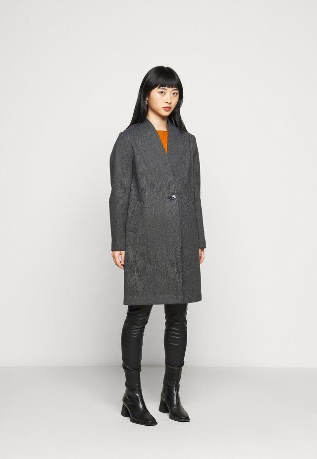 UNLINED COLLARLESS JACKET - Classic coat - black