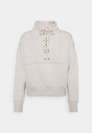 BOXY HIGH NECK WITH UTILITY DETAILS - Sweater - off white melange