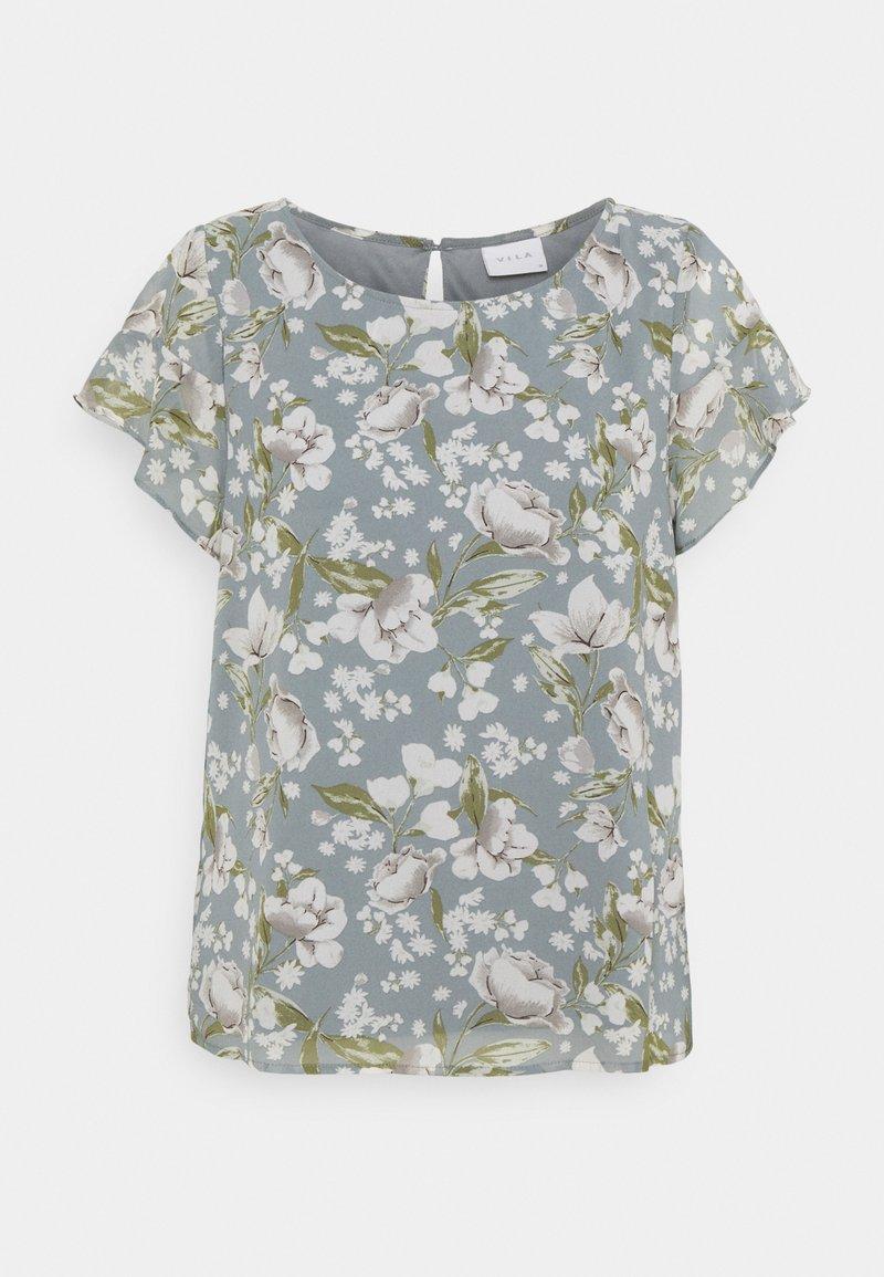 Vila - VIMILINA FLOWER - T-shirts med print - ashley blue