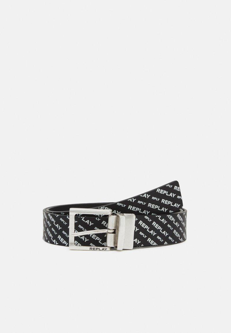 Replay - CRUST SAFFIANO EMBOSSED BELT - Belt - black