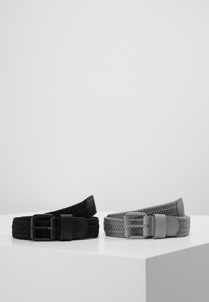 ELASTIC BELT 2 PACK - Braided belt - black/grey