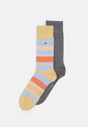 MEN SOCK COLOR STRIPE 2 PACK - Chaussettes - yellow