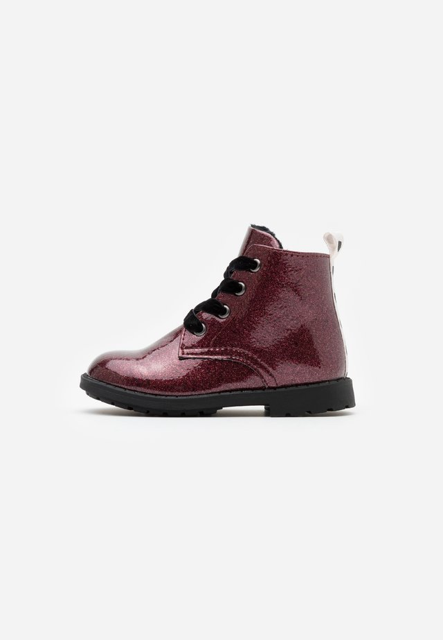 Bottines à lacets - bordeaux