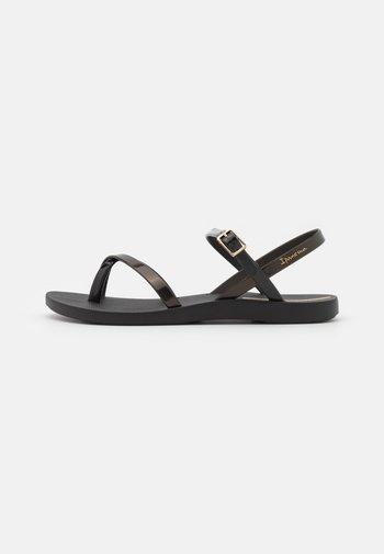 FASHION  - T-bar sandals - black/gold