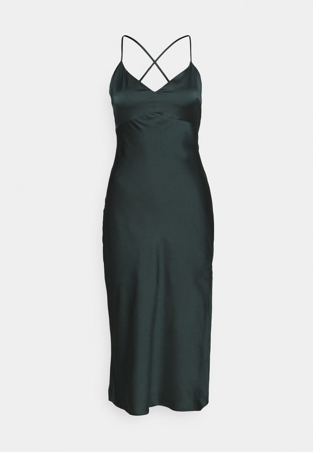 CROSS BACK MIDI DRESS  - Cocktail dress / Party dress - emerald green