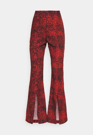 TROUSER FRONT SPLIT DETAIL - Kalhoty - red/black