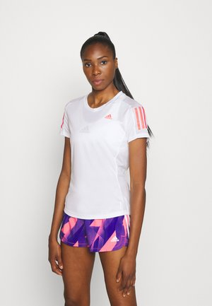 OWN THE RUN TEE - Camiseta estampada - white/signal pink