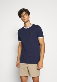 Lyle & Scott - RINGER TEE - T-shirt - bas - navy/white - 0
