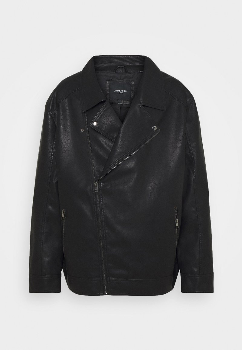 Jack & Jones - JORNOLAN BIKER JACKET - Faux leather jacket - black