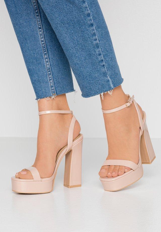 WIDE FIT DEXTER - High heeled sandals - nude