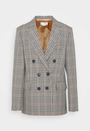 BUTTON DETAIL CHECK JACKET - Blazer - cream