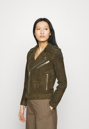 RIVER - Leather jacket - gobi
