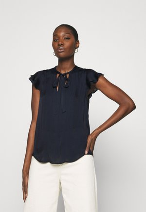 FLUTTER SLEEVE TIE NECK SOLIDS - T-shirts - preppy navy