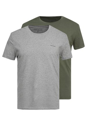 SLIM FIT 2 PACK - Basic T-shirt - grape leaf/grey melange