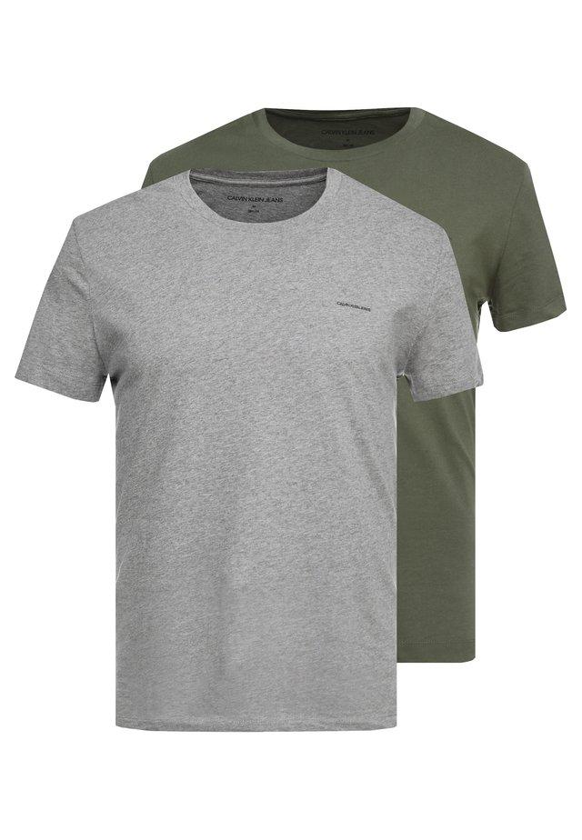 SLIM FIT 2 PACK - T-shirts - grape leaf/grey melange