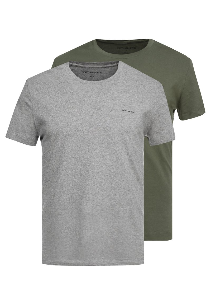 Calvin Klein Jeans - SLIM FIT 2 PACK - T-shirts basic - grape leaf/grey melange