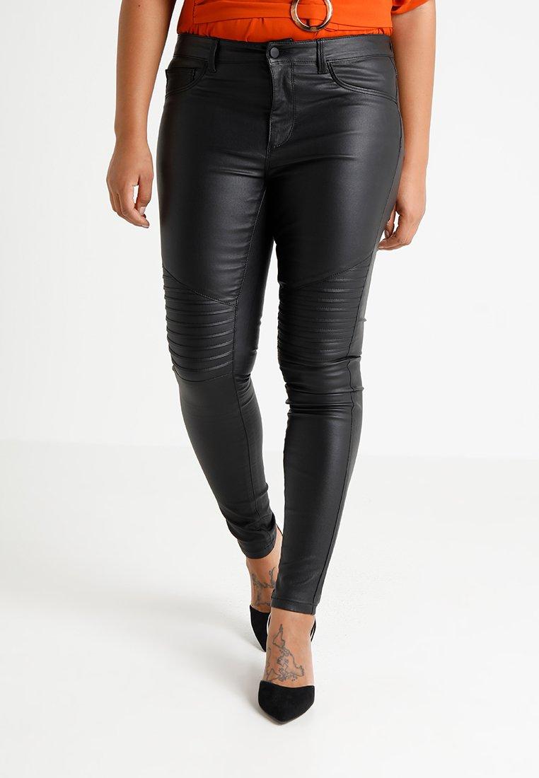 ONLY Carmakoma - CARPUNK SKINNY BIKER COATED  - Trousers - black