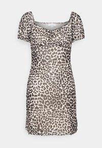 Topshop - NEW MONO LEOPARD MINI DRESS - Shift dress - mono - 4