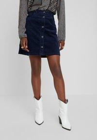 TOM TAILOR DENIM - A-line skirt - real navy blue - 0