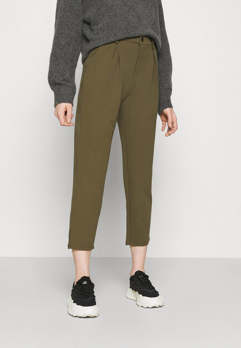 Even&Odd - TAPERED PANTS WITH DART DETAIL  - Trousers - olive