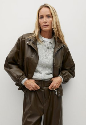 WILD - Faux leather jacket - khaki
