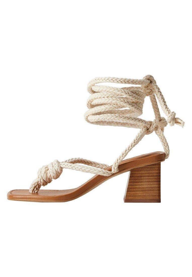 Mango - CORD - T-bar sandals - ecru