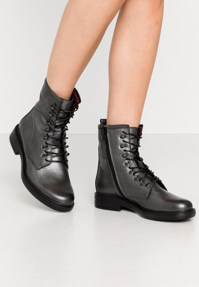 Lace-up ankle boots - gunmetal