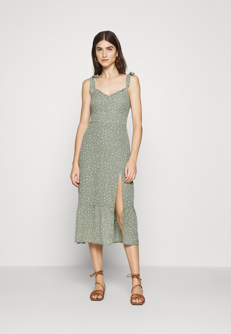 Abercrombie & Fitch - TIE SHOULDER DRESS  - Day dress - green