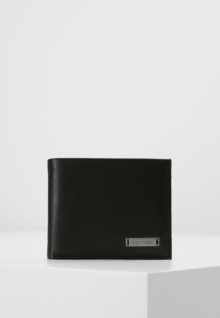 Calvin Klein - SMOOTH PLAQUE SLIMFOLD - Portemonnee - black