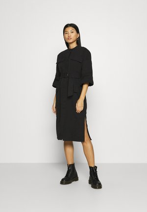 BELTED UTILITY DRESS - Denim dress - black