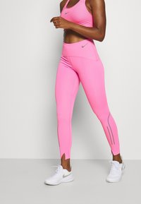 Nike Performance - SPEED 7/8 MATTE - Leggings - pink glow/gunsmoke - 0