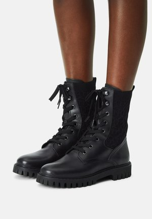 TH KNITTED FLAT BOOT - Lace-up ankle boots - Bottines à lacets - black